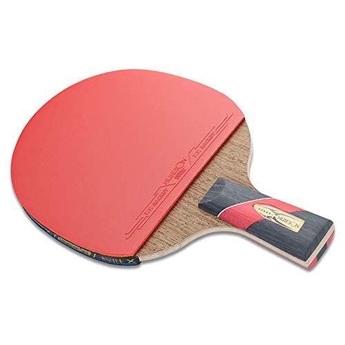 ZJH Murciélago de Tenis de Mesa de Fibra de Carbono, 5 Capas de Madera de wengué + Paleta de Ping Pong de Fibra de Carbono de 2 Capas,Shorthandle