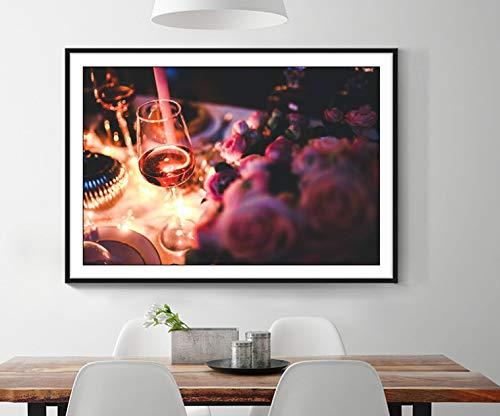 DAQIANSHIJIE Vino Rosa Notte Romantica Pittura su Tela Poster Wall Art Immagine Soggiorno Corridoio Bar Ristorante Decorazione Pittura 60X90Cm Senza Cornice