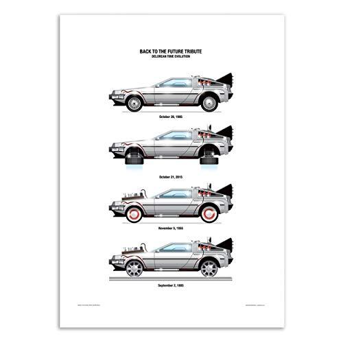 WALL EDITIONS Art-Poster - Delorean DMC-12 - Olivier Bourdereau - Format : 50 x 70 cm