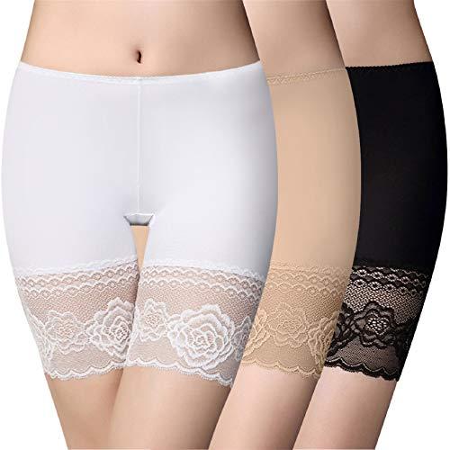 Voqeen Pantalones Cortos Mujer Anti Chafing Pantalones Seguridad Debajo de la Falda Leggings Mujer de Encaje Cortos de Yoga Sin Costura de Seda de Hielo