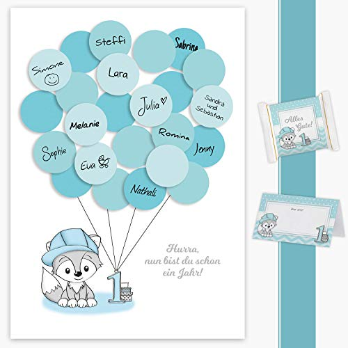 Erster Geburtstag Gästebuch, 1. Geburtstag Geschenk Fuchs Junge in blau Deko, Dekoration, Gastgeschenk, Andenken, Idee, Glückwünsche, Erinnerungsstück, 1ster Geburtstag, Happy Birthday