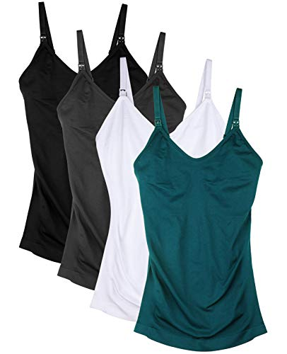 Womens Nursing Tank Tops for Breastfeeding with Built in Bra Maternity Cami Pack of 4 Color Black Gray White Green Size S