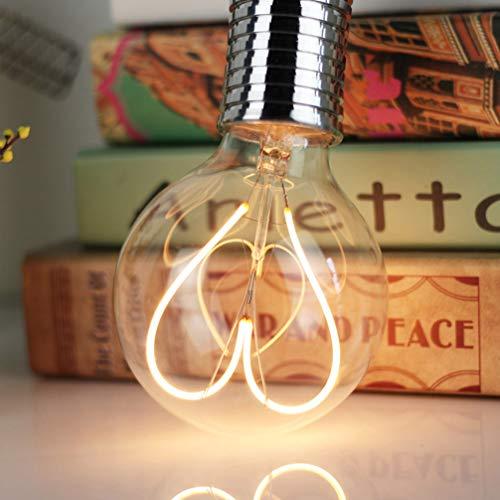 Uonlytech lampadine a forma di cuore a led cuori vintage edison lampadine decorazioni per Sanvalentino casa camera da letto hotel cafe (110-130v 4w)