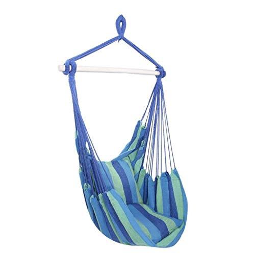 Columpio Robusto Silla de cuerda colgante de hamaca colgante de jardín al aire libre en el interior Asiento con 2 almohadas Cama colgante de hamaca de viaje que acampa Cultivar el Equilibrio de los Ni