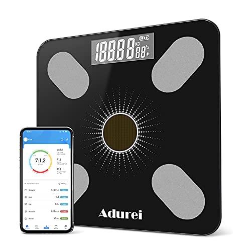Báscula de Baño Báscula Digital Inteligente Bluetooth Pantalla LCD Carga por USB y Energía Solar con 13 Funciones IMC, Músculo, Grasa Corporal, Masa ósea 180kg/400lbs