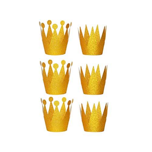 Minkissy chapeaux d'anniversaire couronne mini paillettes chapeaux princesse prince papier couronne des faveurs du parti pour les enfants 6pcs (or)