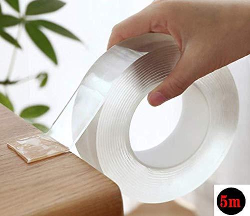 【SanDoll】Amazonから最速発送 【長さ5m×幅3�p×厚み2�o】両面テープ 魔法のテープ ナノテープ 超強力 粘着テープ 洗って使える 魔法の両面テープ マジックテープ 繰り返し使える 養生テープ 透明 滑り止めテープ地震 倒れ込み防止 家具倒れ