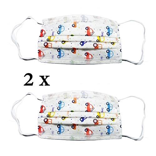 2X Kinder Einweg Mund-Nase-Bedeckung - Design Auto - Einheitsgröße