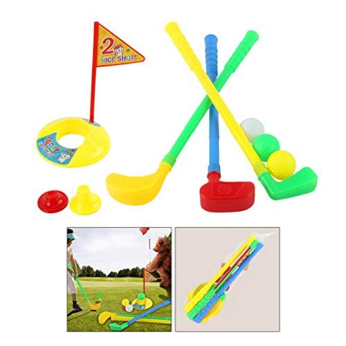 Wakauto Children Golf Club Set, Indoor Outdoor Golf Educational Toy Set Plastic Parent-Child Toy Golf Suits Sport Toy Golf Clubs for Kids Children