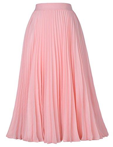 Women's Midi Skirt A-Line 50s Vintage Style Pink Size L KK659-1