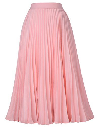Women's Basic Solid Flared Casual Midi Skirt A-line Pink Size S KK659-1