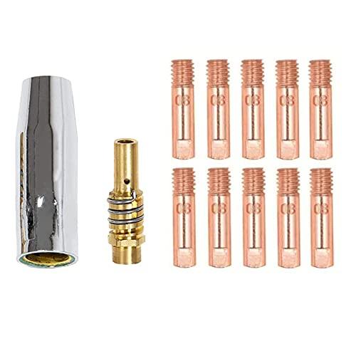 Boquilla de antorcha de soldadura, Boquillas Puntas de contacto Soportes,para máquina de soldadura de pistola de antorcha 15AK de 0,8 mm (1 boquilla, 10 puntas de contacto, 1 soporte de puntas)