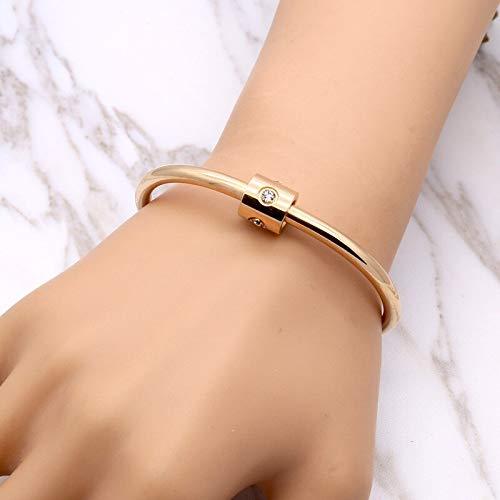 MHOOOA Kristall Schmuck Top Titan Stahl Armbänder Armreifen Gold Farbe Marke Schraube Abzug Liebe Charme Armband Für Frauen