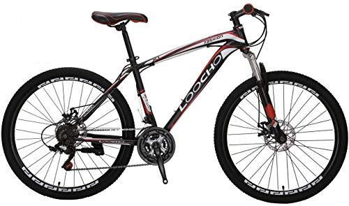 LOOCHO Mountain Bike 21 Speed 26-27.5 inch Shining SYS Double Disc Brake Suspension Fork Anti-Slip Bikes (Black&red)……