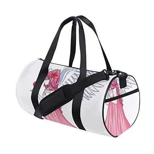 ZOMOY Bolsa de Deporte,Anime Twin Fairy Tale Character Angel Pink Dress Holding Heart Romantic Valentines Daypink,Nuevo de Cubo de impresión Bolsas de Ejercicios Bolsa de Viaje Equipaje Bolsa