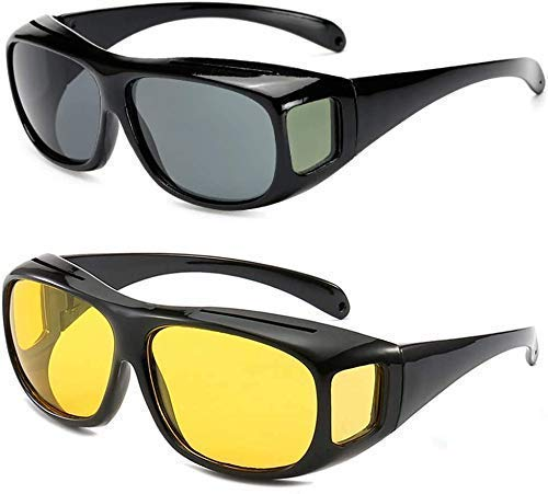 Nubilous HD Vision Day and Night Unisex HD Vision Goggles Anti-Glare Polarized Sunglasses Men/Women Driving Glasses UV Protection All Bikes&Car-Pack of 2 Goggles(Yellow & Black) (Black-Yellow)