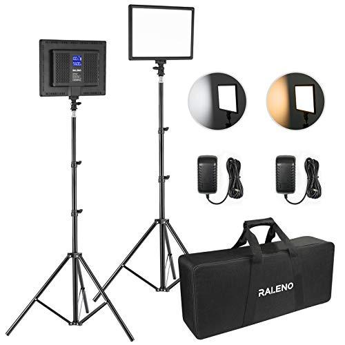"""LED Video Kamera Licht, RALENO 2 Pack 384 LED Sanftes Videoleuchte mit 79\"""" Einstellbarer Lichtstativ, Handtasche, 3200-5600K zweifarbige Helligkeit(0-100{0febd66af323fe45dc8c533672210bf00b9e827c9c2e2497dedbf920dd155853}) Dimmbar CRI95 für YouTube Studio Fotografie"""