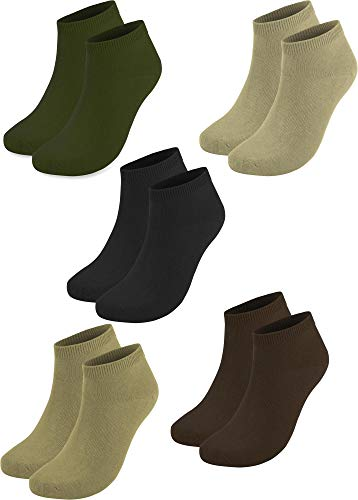 normani 10 Paar Baumwolle Sommer Sneaker Socken für Damen und Herren Auswahl Farbe Oliv/Beige/Khaki/Braun/Schwarz Größe 37-42
