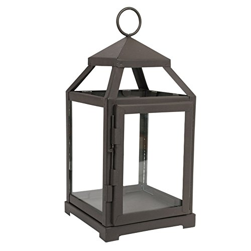 """Hosley 12 Inch High Clear Glass and Iron Classic Style Lantern Ideal Gift for Festivities Weddings Aromatherapy and LED Spa Settings (Black, 12"""" High)"""