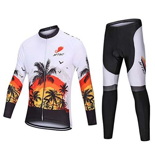 ETScooter Cycle Jersey Long Sleeve Breathable Long Sleeve 3D Gel Padded Bicycle Cycling Suit Mesh Cloting Pants Set UV Protective (Size : XS)
