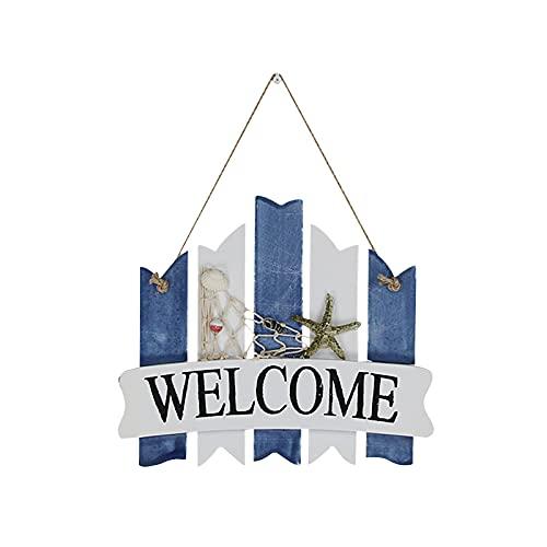Hwtcjx Placa Welcome, Letrero Bienvenida, 1 pieza carteles vintage madera, Hecho de tablero de densidad, estilo antiguo mediterráneo, hermosa decoración para el hogar, jardín, porche (26 x 21,7cm)