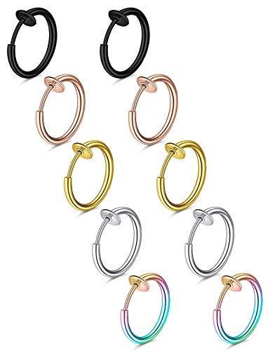 Pendientes falsos anillos de nariz falsos aro septum anillo clip en primavera imitación labio anillo hélice cartílago arete quirúrgico..