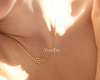 Dainty Honeycomb Hexagon Geometric Gold / Silver / Rose Gold Bee Necklace