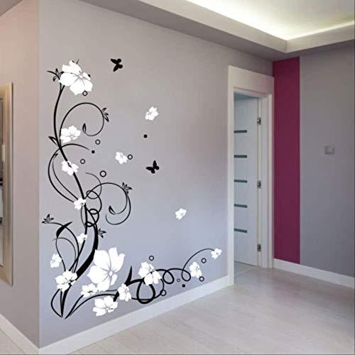 Etiqueta de la pared Vinilo de mariposa grande Flor Vinilo extraíble Pegatinas...