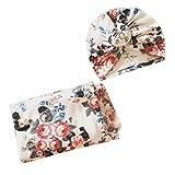 VALICLUD 1 Pack Couverture à Emmailloter Bébé avec Bonnet Nouveau-Né Coton Floral Couverture de Réception Wrap Arc Bandeau pour Garçon Fille