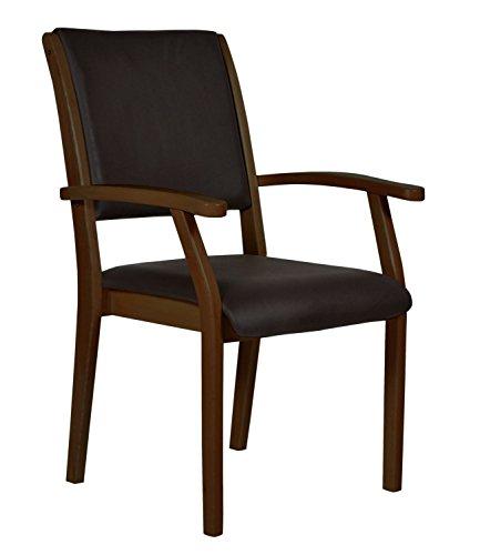 DEVITA - Seniorenstuhl Pflegestuhl Kerry - Verschiedene Sitzhöhen wählbar von 43 cm bis 55 cm (52 cm Sitzhöhe, Holz: Buche dunkel gebeizt - Bezug: 608 Kunstleder Chocolat)