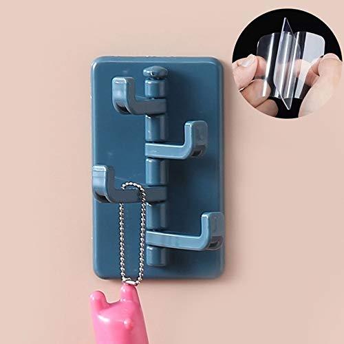 Wagrass Gancho creativo de acordeón ABS autoadhesivo para colgar abrigos, 4 ganchos, montaje en pared, plegable, ganchos de gancho (color: NB)