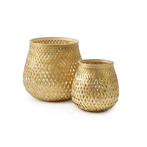 Black Velvet Studio Set de 2 paniers Singapur Bambou, Couleur doré Design tressé, léger et Frais 20x17 cm