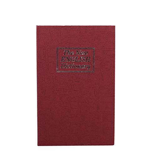 Alvinlite Caja de Libros Segura, Caja Fuerte de Libros con Cerradura de Llave, Caja Fuerte portátil de Metal, Armario Oculto para Dinero y joyería(Red)