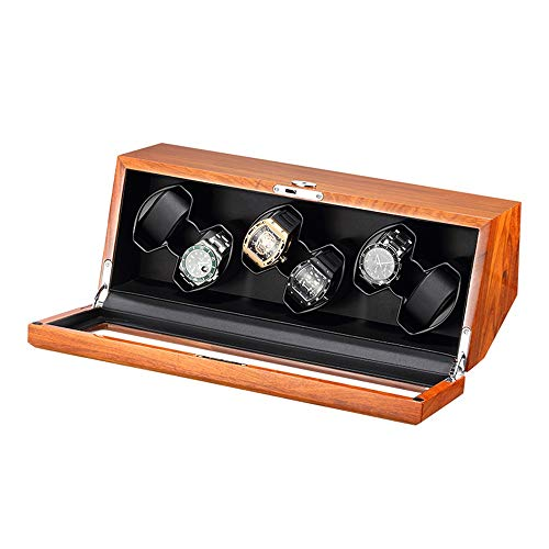 ZNND Automático Mira La Cuerda Caja Madera Maciza con Tapa Cristal Transparente 4 Modo Rotación Motor Súper Silencioso Soporta Energía USB (Color : Black, Size : 6+0)
