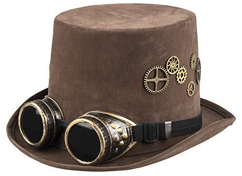 shoperama Brauner Steampunk Herren Zylinder mit Zahnrädern und Goggles Gr. 60 Hut Kostüm-Zubehör