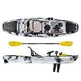 ATLANTIS Kayak-Canoa Tornado a Pedali - cm 300 - seggiolino - 2 portacanna - pagaia - 2 gavoni Colore Camouflage Bianco