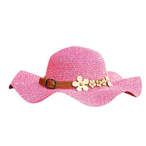 Yvelands Mujeres Sombrero de Paja Sombrilla de Jazz Panamá Trilby Fedora Sombrero Gángster Gorra (Rosa Caliente,Un tamaño)