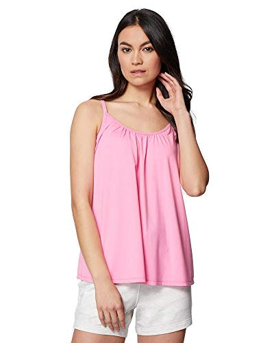 32 DEGREES Cool Womens Shirred Flowly Relaxed Lounge Built-in Cups Shelf Bra Tank Cami, Pink, Small