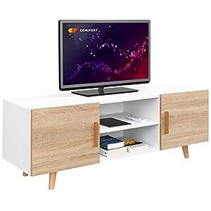 Mueble de TV con Estante Estilo escandinavo Roble Vero 1500 x 400 x 535 mm Blanco: Amazon.es: Juguetes y juegos