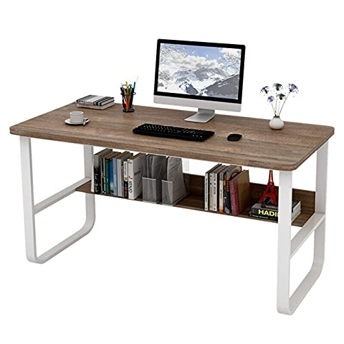 Escritorio de computadora con estantes de almacenamiento Escritorio de oficina en casa de 47 pulgadas Mesa de juego de escritura de estudio Escritorio para computadora portátil Fácil de montar,Marrón
