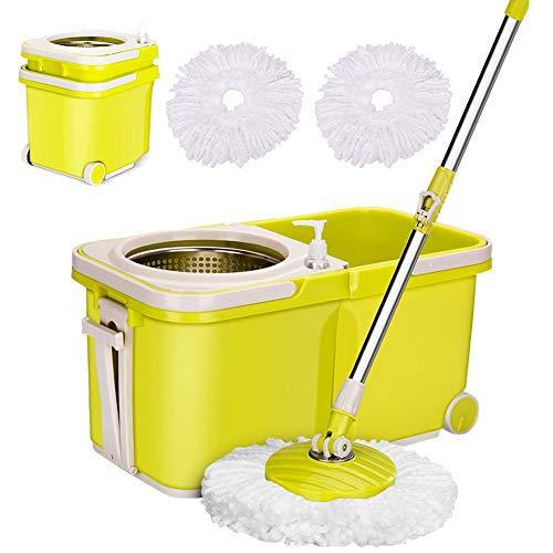 ARSUK secchio lavapavimenti e mocio in Microfibra, Clean Set per la Pulizia dei Pavimenti, Snodo Girevole a 360°