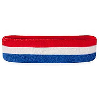 Suddora Striped Sweatband/Headband - Terry Cloth Athletic Basketball Head Sweat Bands  Red White Blue