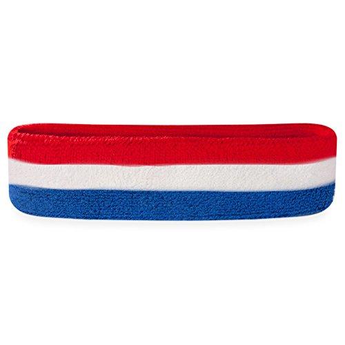 Suddora Striped Sweatband Headband - Terry Cloth Athletic Basketball Head Sweat Bands (Red White Blue)