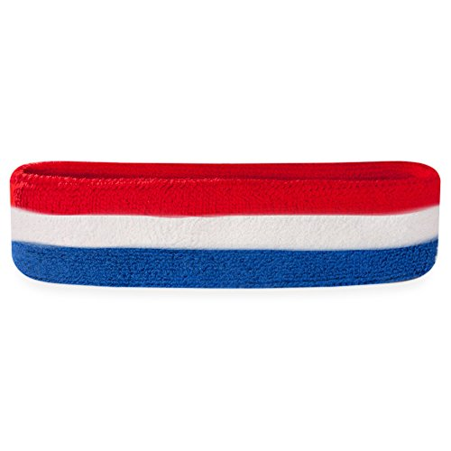 Suddora Striped Sweatband/Headband - Terry Cloth Athletic Basketball Head Sweat Bands (Red White Blue)