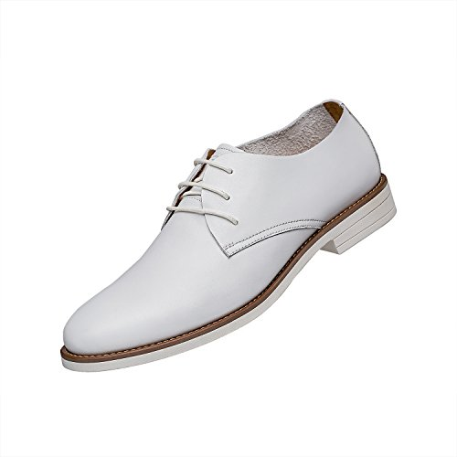 ZRO Men's Business Leather Oxford Lace Up Casual Breathable Upper Shoes WHITE US 7
