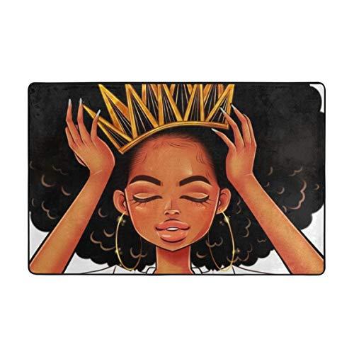 ZUL Alfombrilla baño, Alfombra de Cocina Puerta Pies Estera Felpudo,Mujeres afroamericanas Chica con Corona Afro Girls African Queen Princess 75X45cm