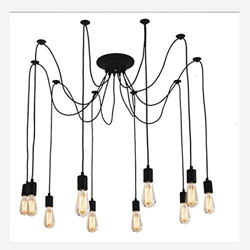 Braiton Araña araña Antigua con luz de araña Ajustable Vintage Lámpara de Techo Lámpara de Araña Industrial Lámpara de Vendimia Múltiple DIY Casquillo E27,10 Head Styles