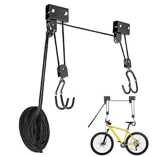 BUYMONKEE Fahrradlift 57 KG Traglast, Fahrradhalterung, Kajak Lift, Universeller Deckenlift, Garagenlift für Dachboxen, Bikelift