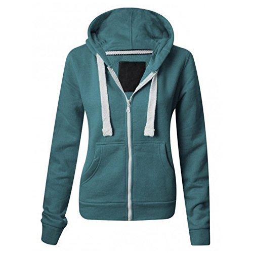 Damska jednokolorowa bluza z kapturem damska polarowa bluza z kapturem zapinana na zamek błyskawiczny bluza z kapturem kurtka płaszcz sweter dostępny w 22 kolorach plus rozmiarach mały-XXXXXL (DE 6-22)
