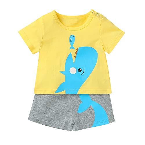 Neugeborenes Säugling Baby Jungen Kurz Ärmel Süß Karikatur Tops + Shorts Outfits einstellen A206
